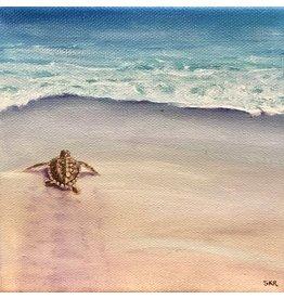 Susan Roberts Off & Running II (Original Oil, Gallery Wrap, 6x6, SUSR)