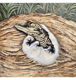 Carol Merritt Go Gators II (Original Acrylic, Impasto, Signed, 10x10)