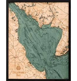 WoodCharts Delaware Bay (Bathymetric 3-D Wood Carved Nautical Chart)