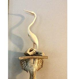 """Don Snyder EGRET (Hand-Carved Wood, 15""""H)"""