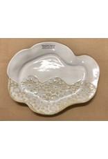 "Clarkware Pottery OYSTER SHELL TRAY, Elegant Lace, 9x9"" (CLARK)"