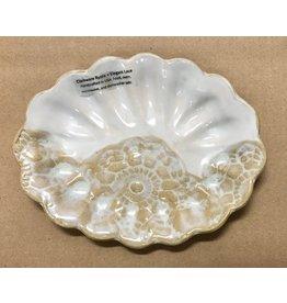 Clarkware Pottery SEA SHELL DISH,  White Rustic, (CLARK)