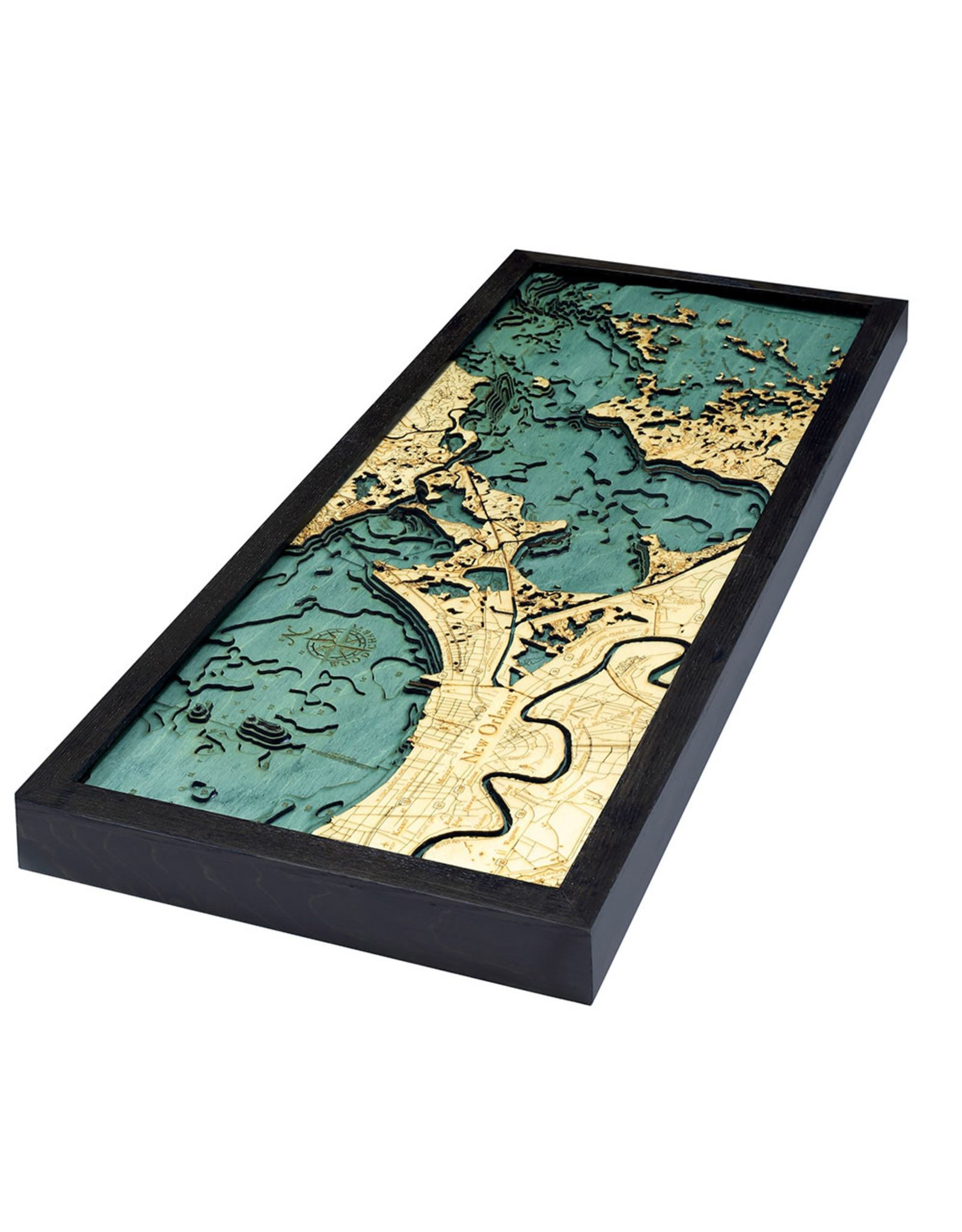 WoodCharts New Orleans (Bathymetric 3-D Wood Carved Nautical Chart)