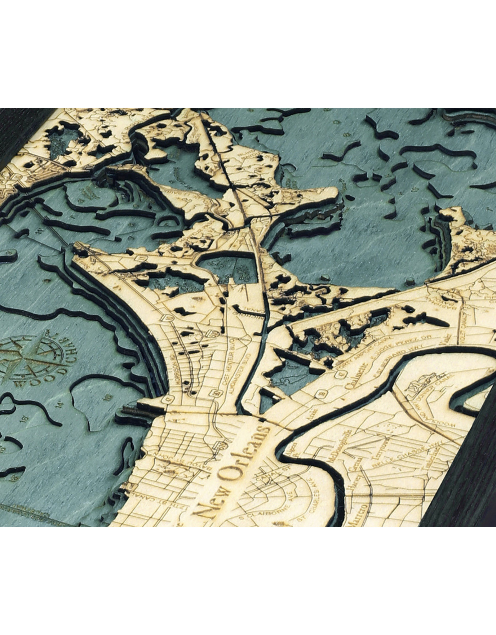 WoodCharts New Orleans (Bathymetric 3-D Nautical WOODCHART)