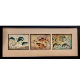 HeARTS 4 Hospice GYOTAKU FISH PRINT (Ken Dara, Triples, Horizontal, Framed, H4H 20009)