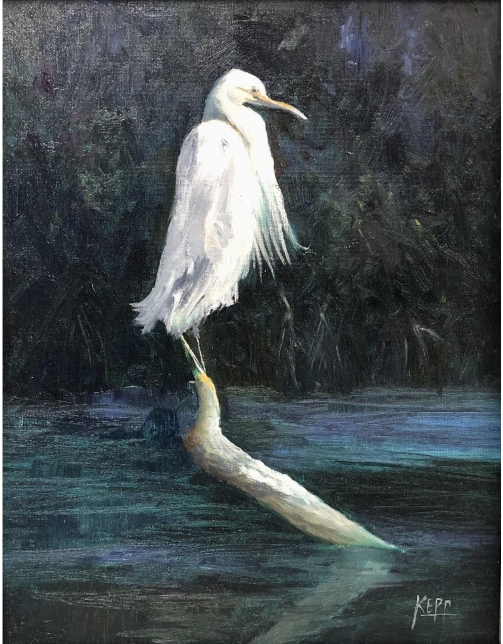 Carol Kepp Egret Charley (Original Oil, 11x14, Framed, Signed)