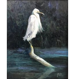 Carol Kepp Egret Charley (Original Oil, 11x14, Framed, Signed)