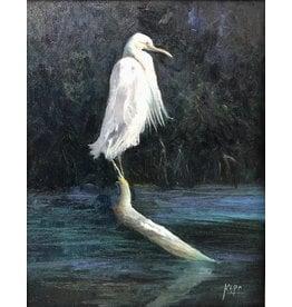 Carol Kepp Egret Charley (Original Oil, 11x14, Framed, Signed, CARK)