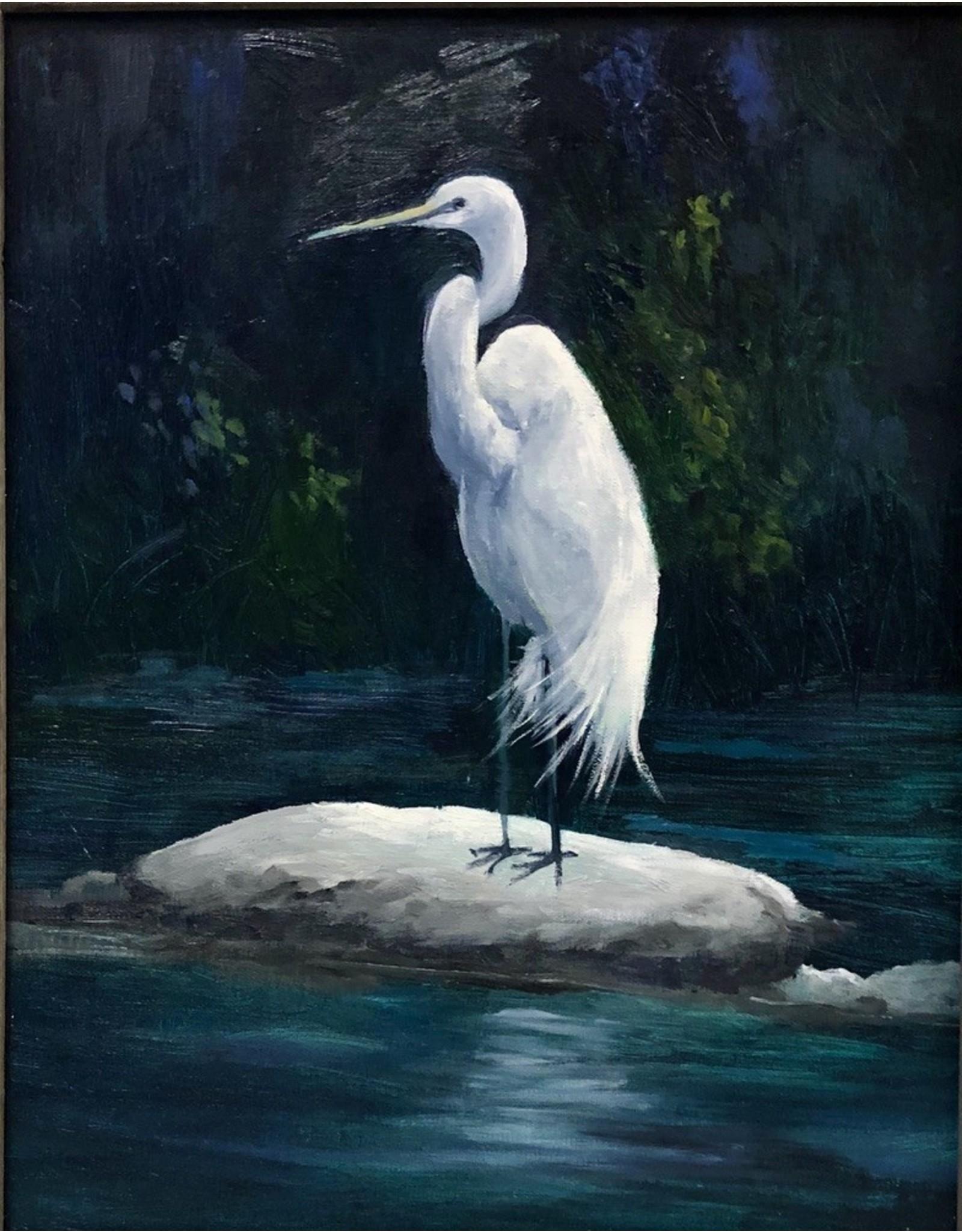 Carol Kepp Egret Harvey (Original Oil, 11x14, Framed, Signed)