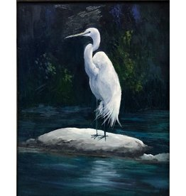 Carol Kepp Egret Harvey (Original Oil, 11x14, Framed, Signed)