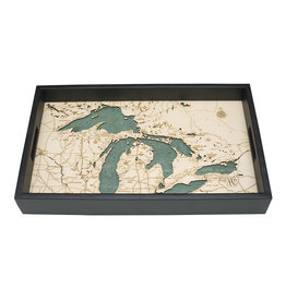 WoodCharts Great Lakes (TRAY, Bathymetric 3-D Wood Carved Nautical Tray)