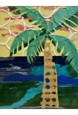 Pam Maschal Single Palm (Mixed Media, Repurposed Frame, 18x23)