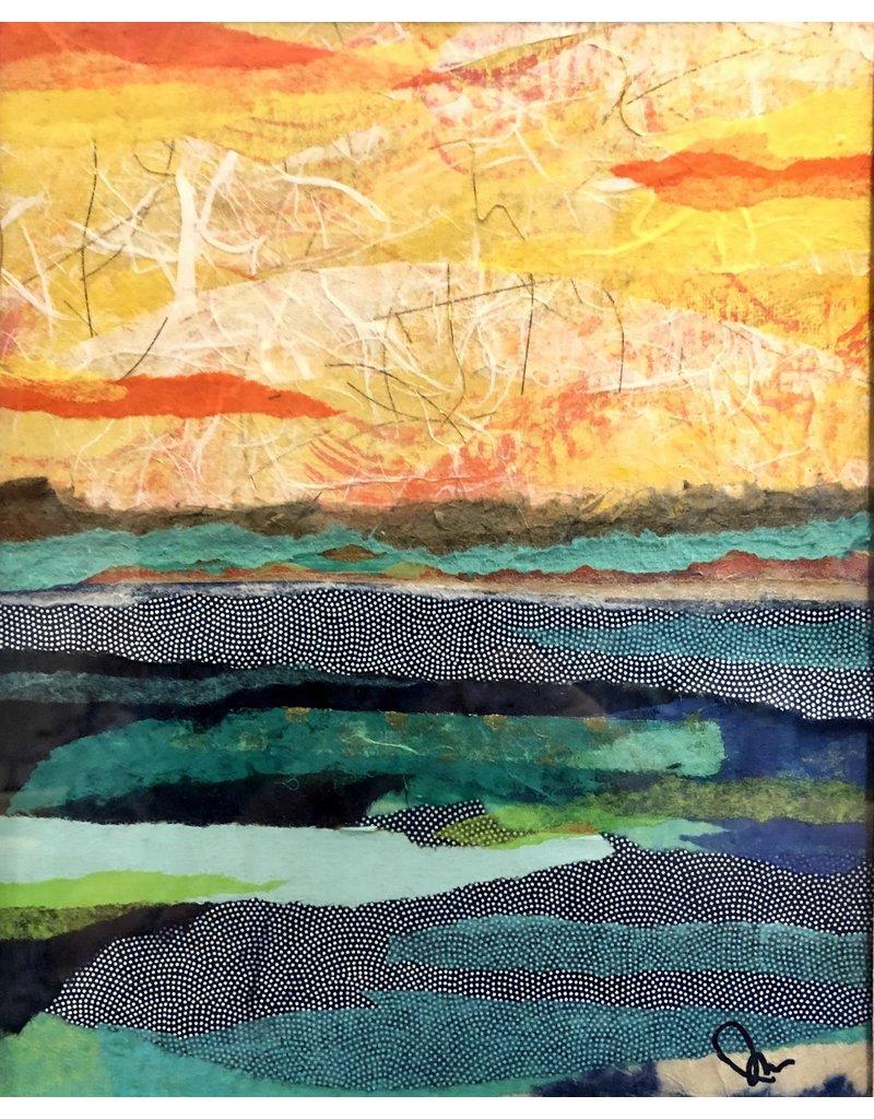 Pam Maschal Fiery Sky (Mixed Media, Repurposed Frame, 14x18)