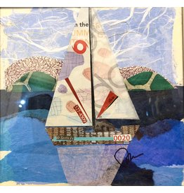 "Pam Maschal Sailboat 20 (Mixed Media, Repurposed Frame, 10.5""SQ.)"