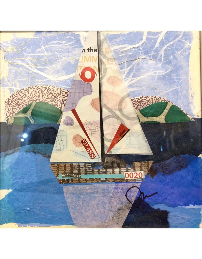"Pam Maschal Sailboat 20 (Mixed Media, Repurposed Frame, 10.5""SQ.)"