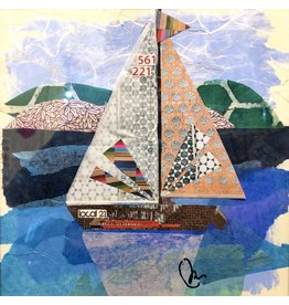 "Pam Maschal Sailboat 21 (Mixed Media, Repurposed Frame, 10.5""SQ.)"