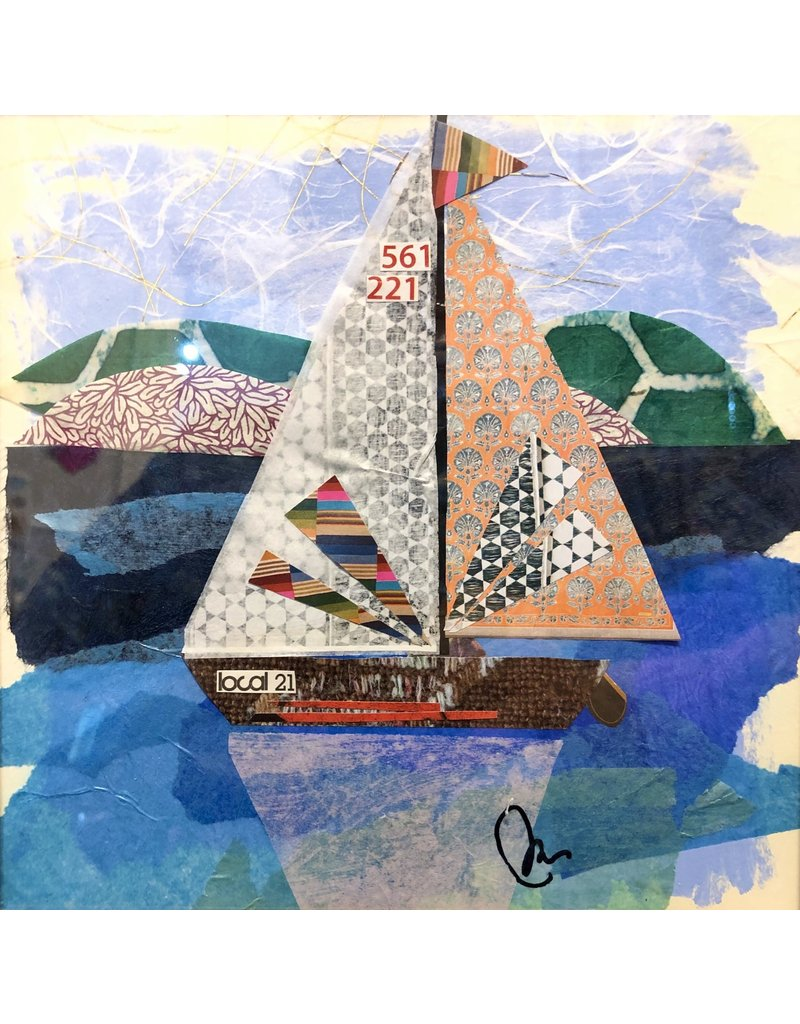 "Pam Maschal Sailboat 21 (Mixed Media, Repurposed Frame, 10.5""SQ.)"
