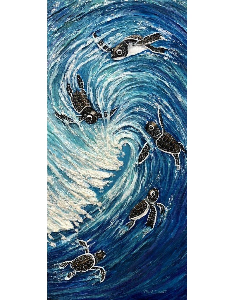 Carol Merritt SURF'S UP (Original Acrylic, Impasto, Signed, 12x24)