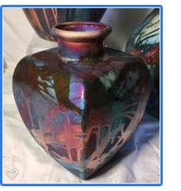 Raku Art CONTEMPORARY SQUARE VASE (Raku, #106)