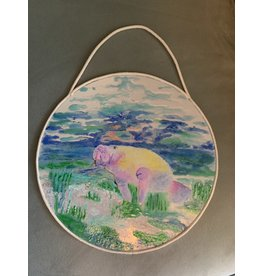 HeARTS 4 Hospice MANATEE IN THE GRASS (Resin on Mirror, D Eby, H4H 20037)