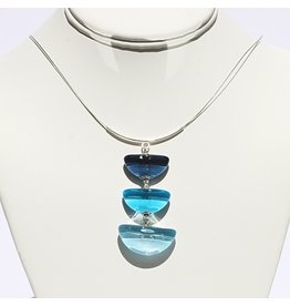 Perfecto Glass PENDANT NECKLACE (Triple Teacup Drop)
