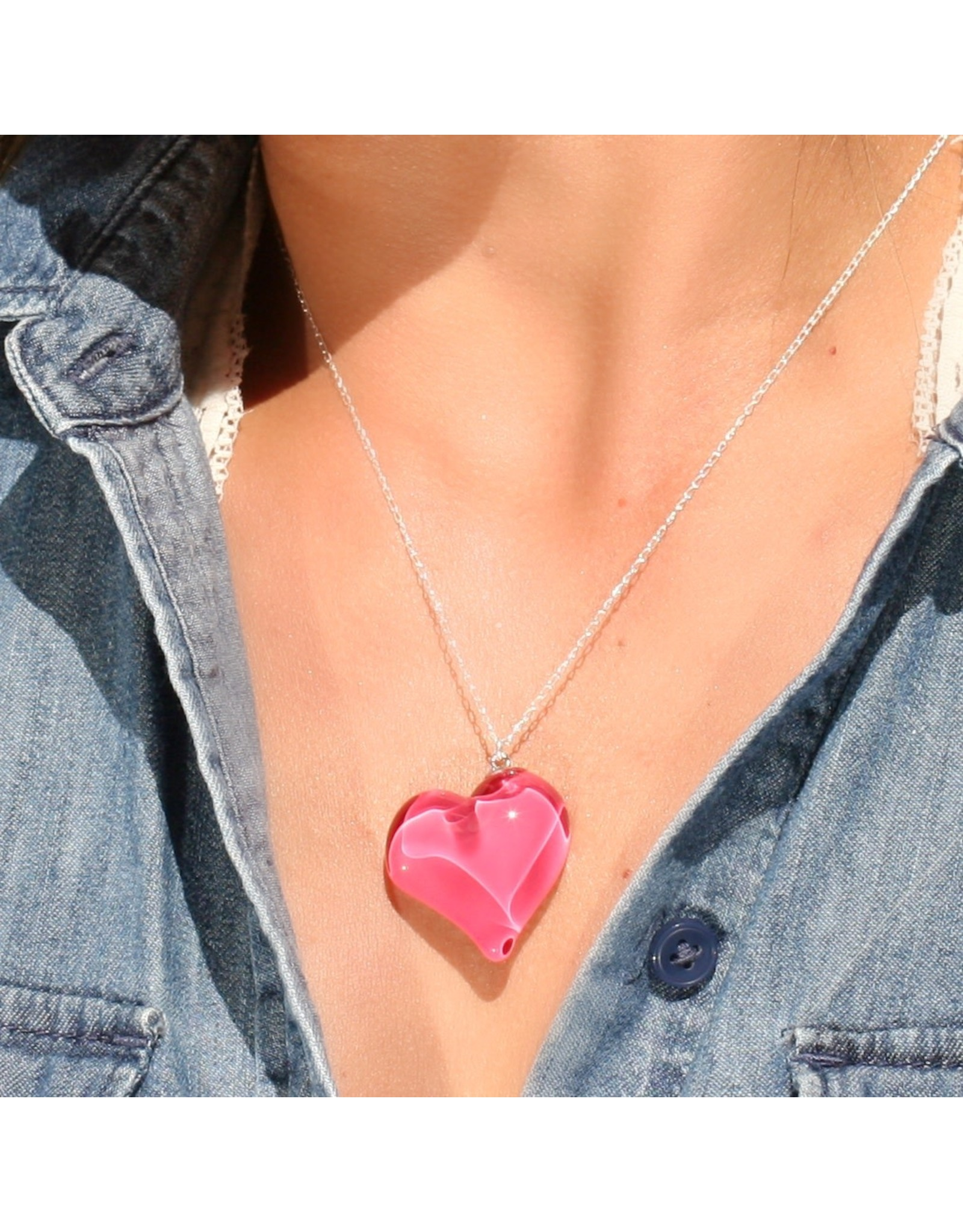 Perfecto Glass PENDANT NECKLACE (Heart, PERF)