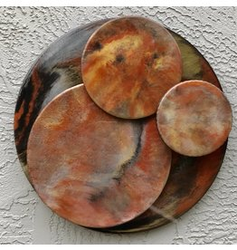"Sandra Stroot COPPER COINS (Floating Circles Epoxy Resin Pour, 14""D.)"