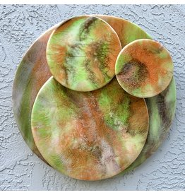 "Sandra Stroot LIME ZEST (Floating Circles Epoxy Resin Pour, 14""D.)"