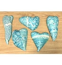 Gail Snively HEARTS (Hangable, Porcelain, Blue, GAIS)
