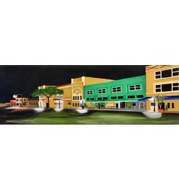 Cliff Potenza Midnight in Stuart (Original Oil on Canvas, 36x12)