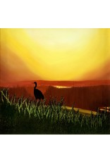 Cliff Potenza Sunset Silhouette (Original Oil, Framed, 30x30, CLIP)