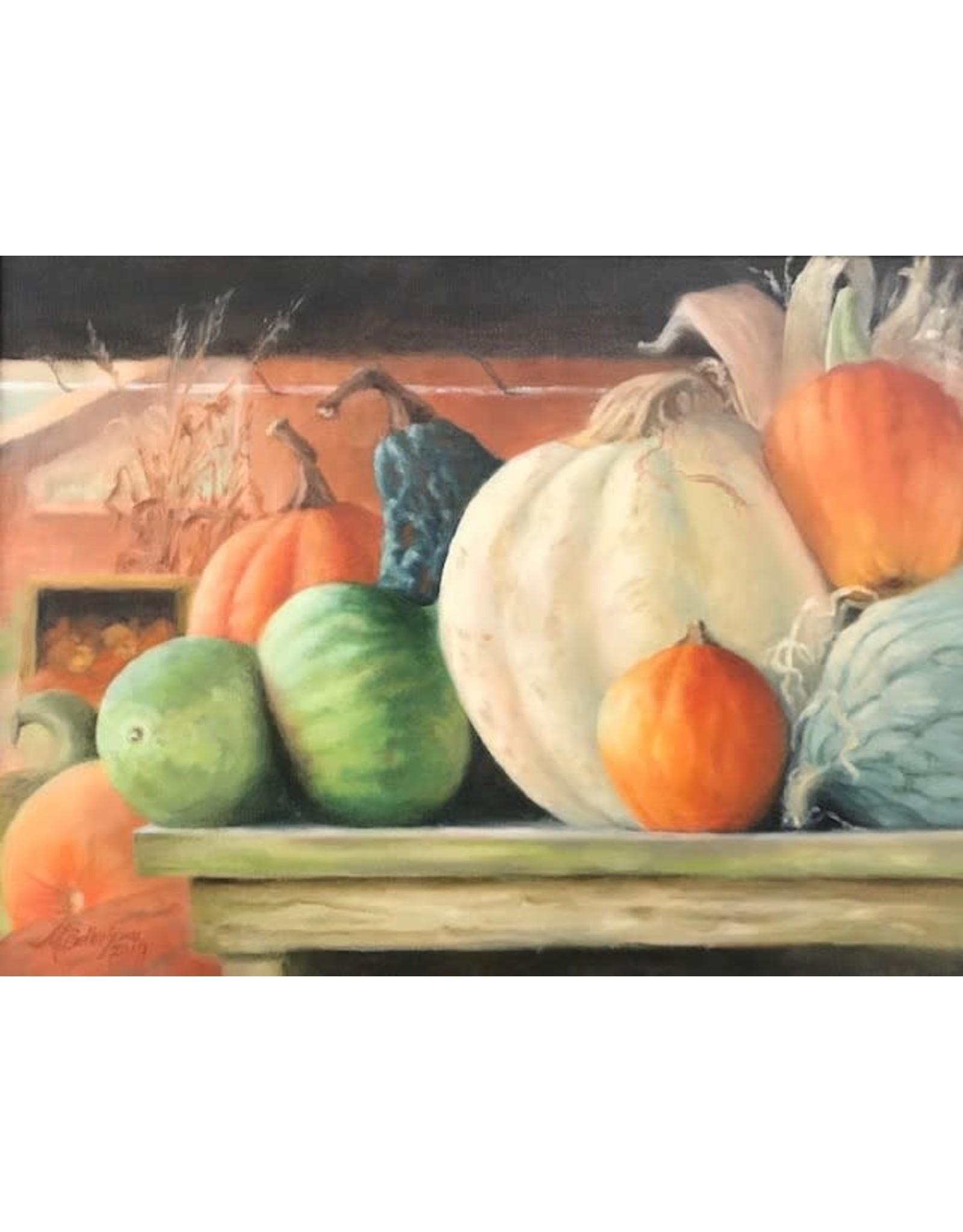 Michaelann Bellerjeau Scottsdale Gourds (oil on linen, 15x20, framed. MICB))