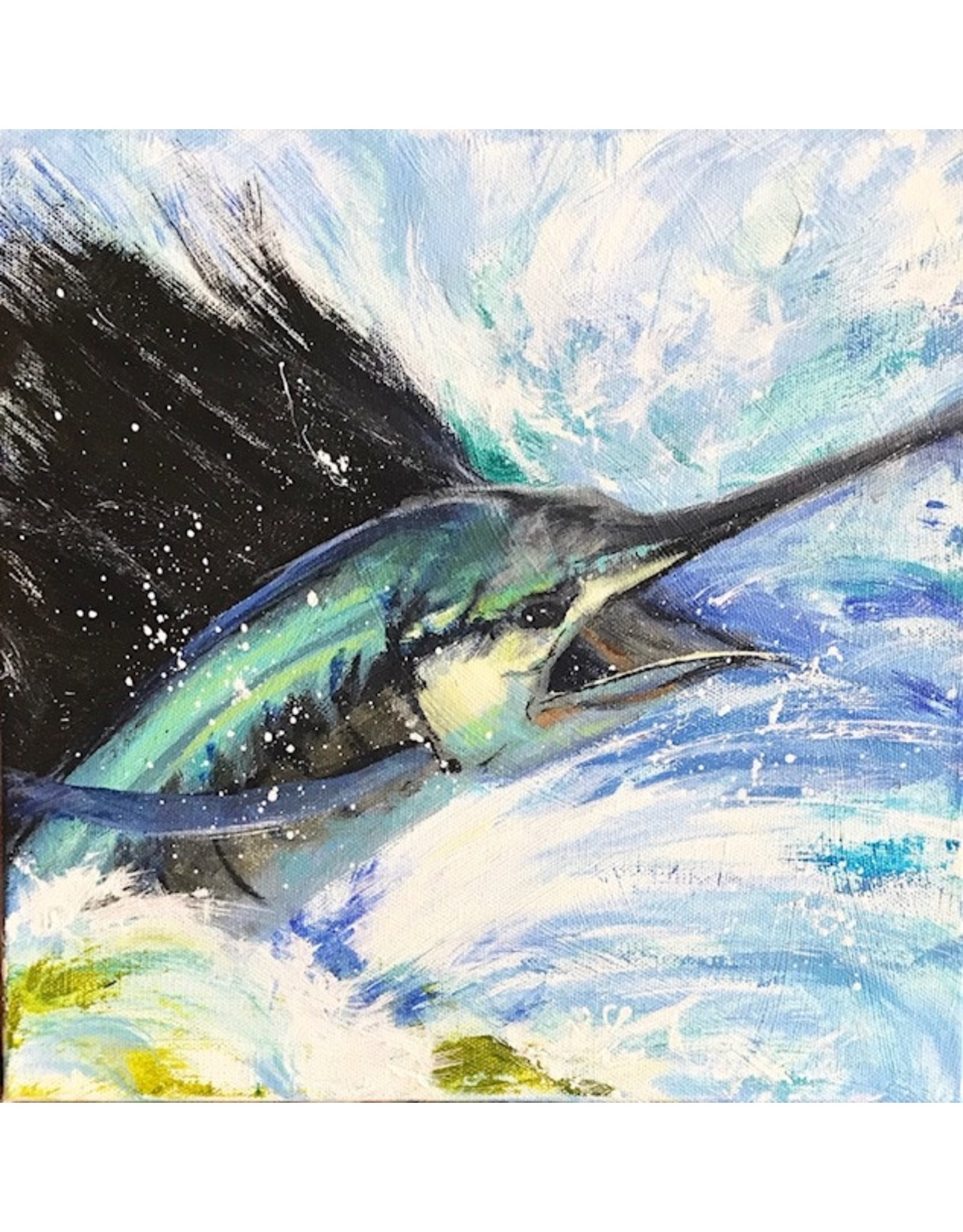 Michaelann Bellerjeau Sailfish 1 (original acrylic, gallery wrap, 12x12, MICB)
