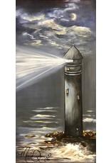 "Marcia Durham GUIDING LIGHT, acrylic on canvas, 12x24"", MARD"