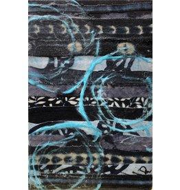"""Pam Maschal BLUE TEXTILE (Mixed Media, 6x9"""" PAMM)"""