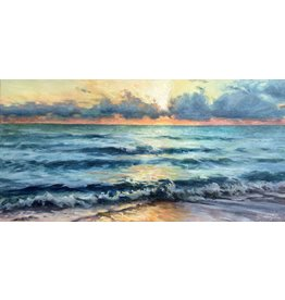 "Michaelann Bellerjeau MORNING'S SWELL (oil on gallery wrapped canvas, 12x24"" MICB)"