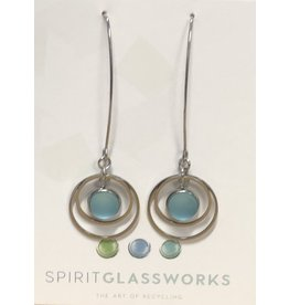 Spirit Glassworks EARRINGS (Long Circle Glass Drop, Recycled Glass Bottles, MELW)