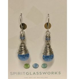 Spirit Glassworks EARRINGS (Wrapped Drop Crackle, Recycled Glass Bottles, MELW)
