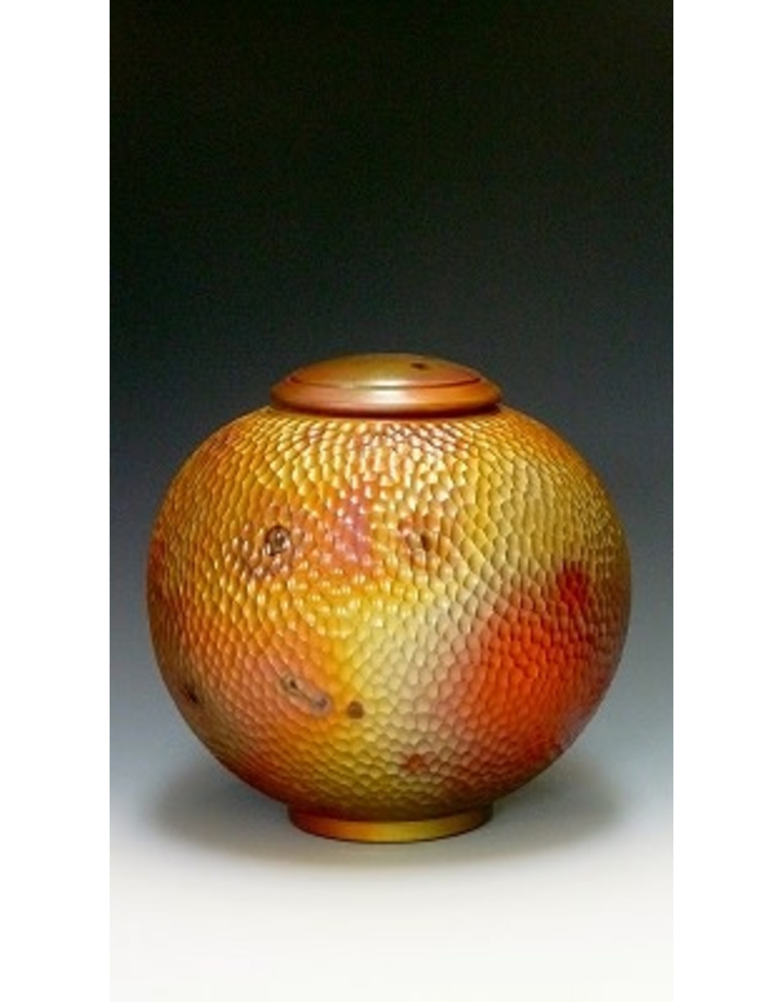 "Cosmic Clay Studio CARVED COVERED JAR, (raku, 8x8x8"") COSC"