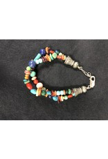 RARE EARTH FINDS BRACELET, Native American Artist Design, double strand,