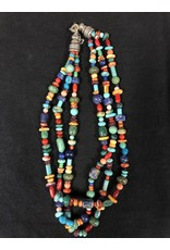 RARE EARTH FINDS BEADED NECKLACE, Native American Artist Design, triple strand