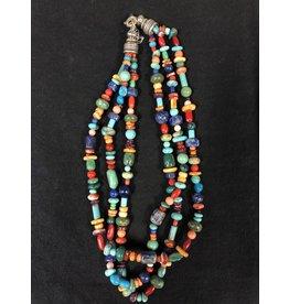 RARE EARTH FINDS BEADED NECKLACE, Native American Artist Design, triple strand
