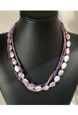 """Mary Chase NECKLACE. Beaded, Peacock Pearls & Amethyst, 3-strand, 16"""" MARCH"""
