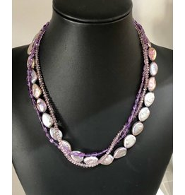 "Mary Chase NECKLACE. Beaded, Peacock Pearls & Amethyst, 3-strand, 16"" MARCH"