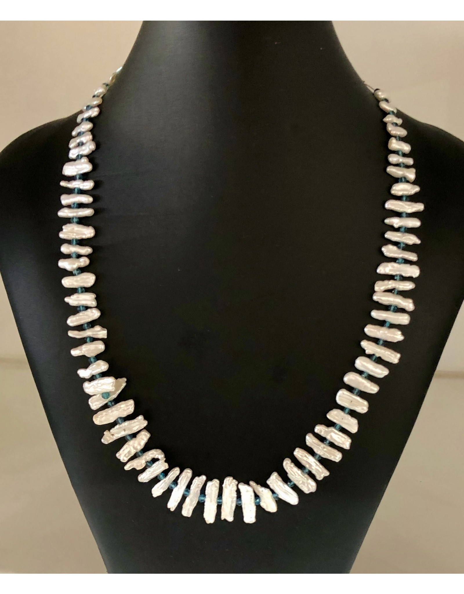 """Mary Chase NECKLACE, White Graduated Biwa Pearls 24"""", MARCH"""
