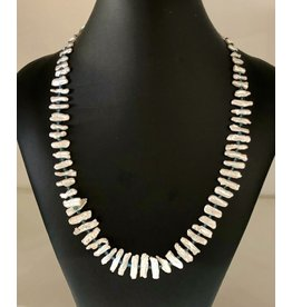 "Mary Chase NECKLACE, White Graduated Biwa Pearls 24"", MARCH"