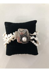 Mary Chase BRACELET, White pearls, 3 strand w/Art Nouveau clasp , MARCH