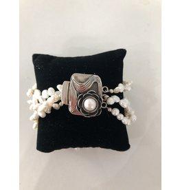 Rare Finds BRACELET, White pearls, 3 strand w/Art Nouveau clasp , MARCH
