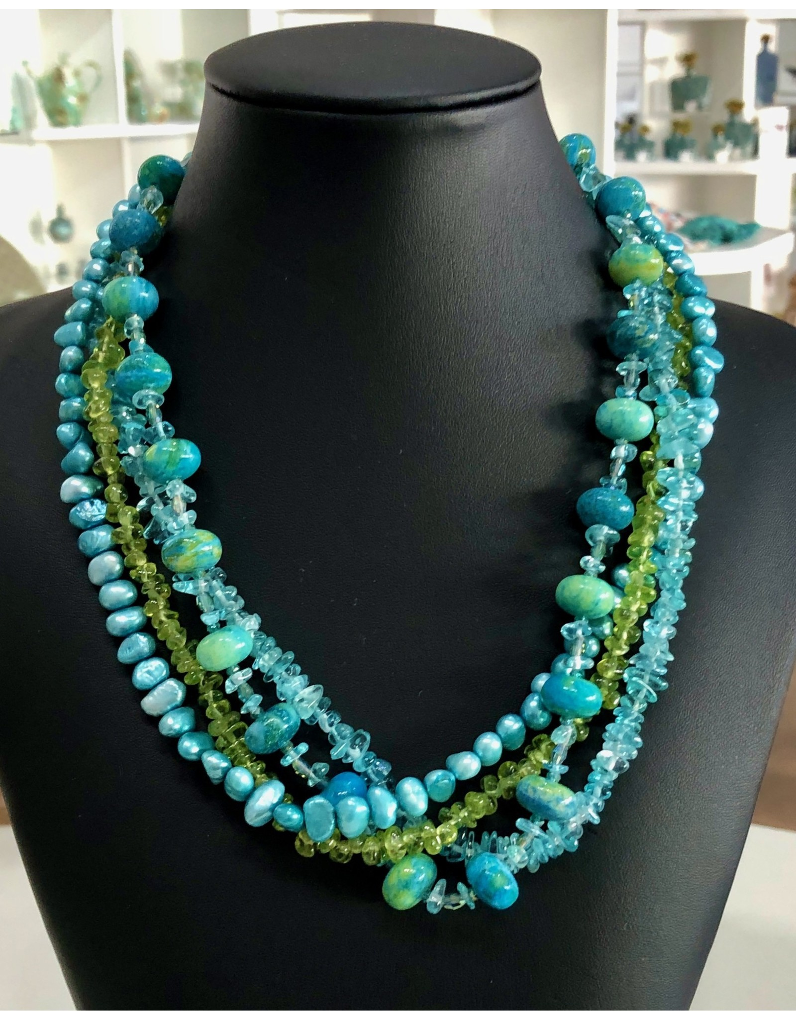"""Mary Chase NECKLACE. Beaded, Aquamarine, Peridot, Blue Pearls, 18"""" MARCH"""