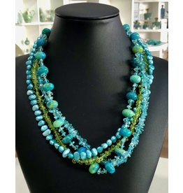 "Mary Chase NECKLACE. Beaded, Aquamarine, Peridot, Blue Pearls, 18"" MARCH"